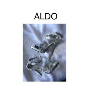 ALDO Silver Strappy Stilettos 👠 Size 39